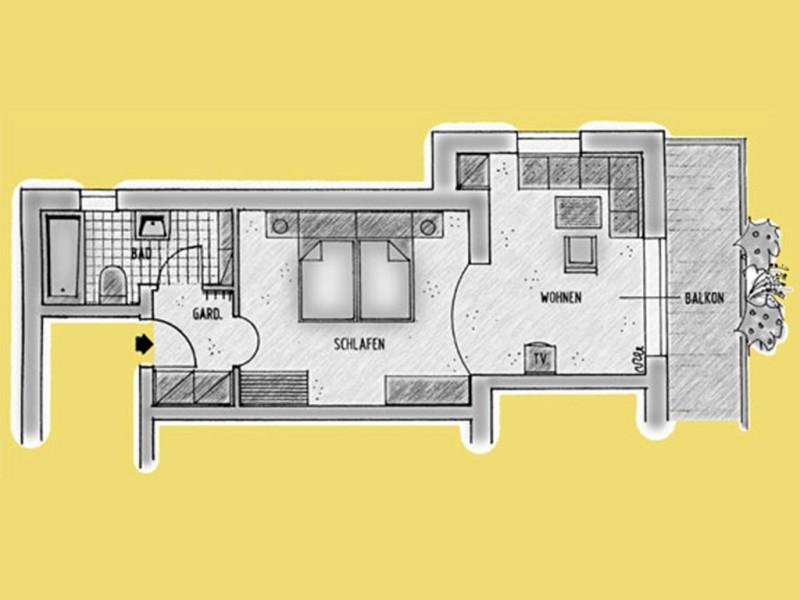 Doppelzimmer-Appartement mit Bad