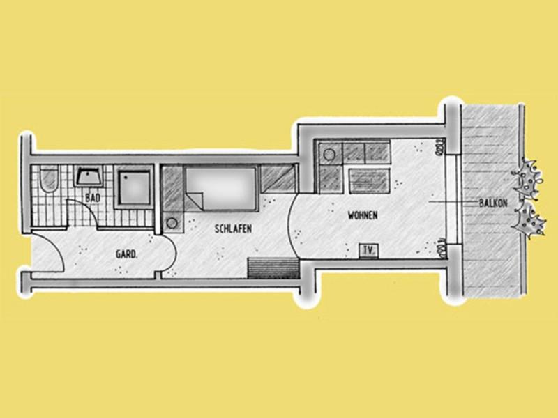 Einzelzimmer-Appartement